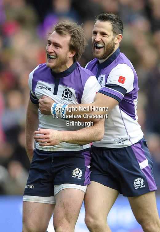 No Sales, Syndication or Archive <br /> Scotland V Samoa<br /> Saturday 11 November 2017<br /> BT Murrayfield <br /> <br /> Stuart Hogg of Scotland  who scored Scotland's 1st try celebrates with Tommy Seymour of Scotland<br /> <br /> <br />  Neil Hanna Photography<br /> www.neilhannaphotography.co.uk<br /> 07702 246823