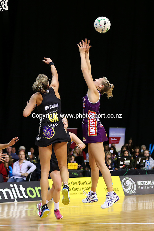 Waikato BOP Magic's Leana De Bruin and Queensland Firebird's Amorette Wild compete for the ball during the ANZ Championship netball match - Waikato BOP Magic v Queensland Firebirds at Claudelands Arena, Hamilton, New Zealand on Monday 2 June 2014.  Photo:  Bruce Lim / www.photosport.co.nz