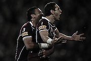 July 6th 2011: Billy Slater and Justin Hodges of the Maroons celebrate a try during game 3 of the 2011 State of Origin series at Suncorp Stadium in Brisbane, QLD, Australia on July 6, 2011. Photo by Matt Roberts / mattrimages.com.au / QRL