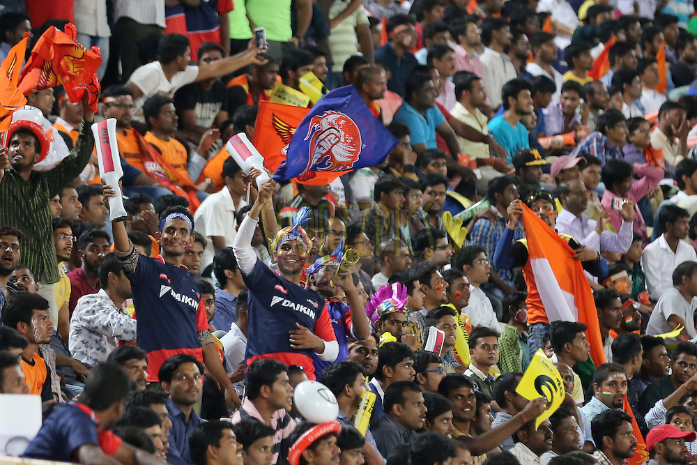 Delhi Daredevils and Sunrisers Hyderabad supporters during match 42 of the Vivo IPL 2016 (Indian Premier League ) between the Sunrisers Hyderabad and the Delhi Daredevils held at the Rajiv Gandhi Intl. Cricket Stadium, Hyderabad on the 12th May 2016<br /> <br /> Photo by Faheem Hussain / IPL/ SPORTZPICS
