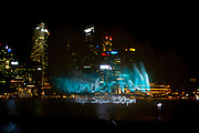 Singapore - A projection on a water wall.