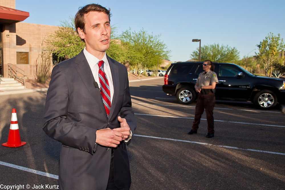 16 MAY 2011 - PHOENIX, AZ: Congressman BEN QUAYLE (R-AZ) at a town hall meeting Monday. About 200 people attended Congressman Quayle's (R-AZ) town hall meeting in the Anthem neighborhood of Phoenix, AZ, Monday. Quayle, son of former Vice President Dan Quayle, was elected in the Republican tide that captured the House of Representatives in Nov. 2010. Quayle tried to run under a Tea Party banner. Most of the people in the crowd were hostile to Quayle and the GOP budget proposal that would change medicare to a voucher system and Quayle was shouted down several times when he tried to support the budget.     Photo by Jack Kurtz