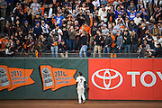 San Francisco Giants left fielder Gregor Blanco (7) looks to the bleachers after a Chicago Cubs home run during Game 4 of the NLDS at AT&T Park in San Francisco, Calif., on October 11, 2016. (Stan Olszewski/Special to S.F. Examiner)
