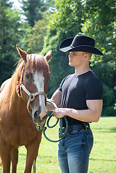 All American cowboy with a horse