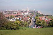 Looking east over Eastbourne beach and town, East Sussex, England