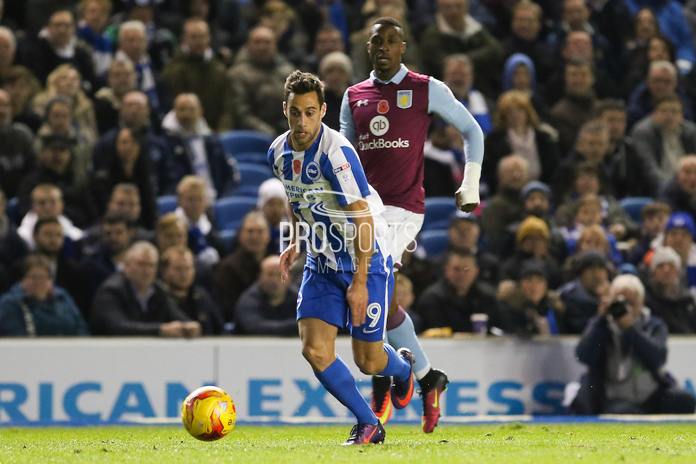 Brighton & Hove Albion centre forward Sam Baldock (9) during the EFL Sky Bet Championship match between Brighton and Hove Albion and Aston Villa at the American Express Community Stadium, Brighton and Hove, England on 18 November 2016. Photo by Phil Duncan.