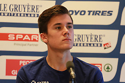 February 28, 2019 - Glasgow, Glasgow, United Kingdom - Jakob Ingebrigtsen (NOR) - European 1500m and 5000m champion seen speaking during the opening Press Conference at the European Indoor Athletics Championships 2019 (Credit Image: © Ben Booth/SOPA Images via ZUMA Wire)