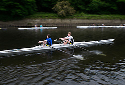© Licensed to London News Pictures.13/06/15<br /> Durham, England<br /> <br /> Rowers take part in their heat during the 182nd Durham Regatta rowing event held on the River Wear. The origins of the regatta date back  to commemorations marking victory at the Battle of Waterloo in 1815. This is the second oldest event of this type in the country and attracts over 2000 competitors from across the country.<br /> <br /> Photo credit : Ian Forsyth/LNP