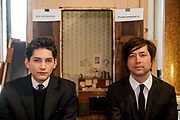 The director of the current project VRwandlung Mika Johnson (right) and Franz Kafka lookalike Marek Lentvorsky (21) pictured in front of the original and faithful replica of Gregor Samsa's room at the Goethe Institute in Prague