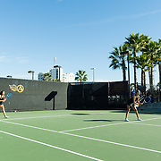 10 November 2017:  The San Diego State Aztecs women's tennis team hosts it's annual Fall Classic II. Paola Diaz de Regules and Jana Both of San Diego State compete in a doubles match friday morning.<br /> www.sdsuaztecphotos.com