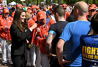 Catherine, Duchess of Cambridge gives out medals to the finishers of the 2017 Virgin Money London Marathon.<br /> The Virgin Money London Marathon, 23rd April 2017.<br /> <br /> Photo: Karwai Tang for Virgin Money London Marathon<br /> <br /> For further information: media@londonmarathonevents.co.uk