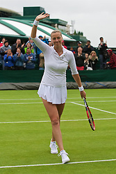 LONDON, ENGLAND - Wednesday, June 29, 2016: Petra Kvitova (CZE) celebrates her 6-0, 6-4 victory over Sorana Cirstea (ROU) during the Ladies' Singles 1st Round match on day three of the Wimbledon Lawn Tennis Championships at the All England Lawn Tennis and Croquet Club. (Pic by Kirsten Holst/Propaganda)