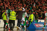 Ryan Christie of Celtic FC Celebrates with Odsonne Edouard of Celtic FC in front of the fans during the Betfred Scottish League Cup Final match between Rangers and Celtic at Hampden Park, Glasgow, United Kingdom on 8 December 2019.