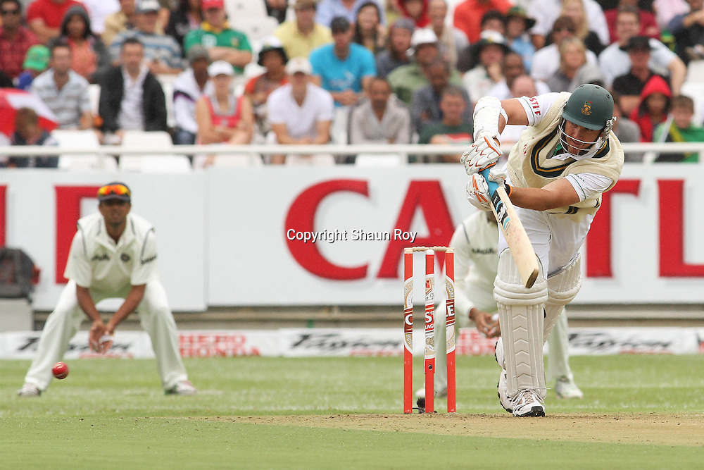 CAPE TOWN, SOUTH AFRICA - 2 January 2010, South African captain Graeme Smith plays a delivery off his legs to the leg side during day 1 of the 3rd Castle Test between South Africa and India held at Sahara Park Newlands Stadium in Cape Town, South Africa on the 2 January 2010 .Photo by: Shaun Roy