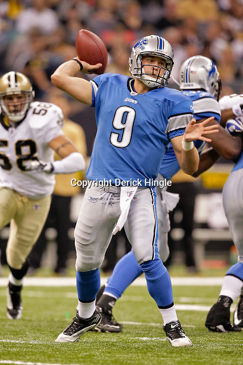 2009 September 13: Detroit Lions quarterback Matthew Stafford (9) throws a pass during a 45-27 win by the New Orleans Saints over the Detroit Lions at the Louisiana Superdome in New Orleans, Louisiana.