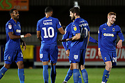 AFC Wimbledon midfielder Anthony Wordsworth (40) celebrating after scoring goal to make it 2-0 during the EFL Trophy group stage match between AFC Wimbledon and Stevenage at the Cherry Red Records Stadium, Kingston, England on 6 November 2018.
