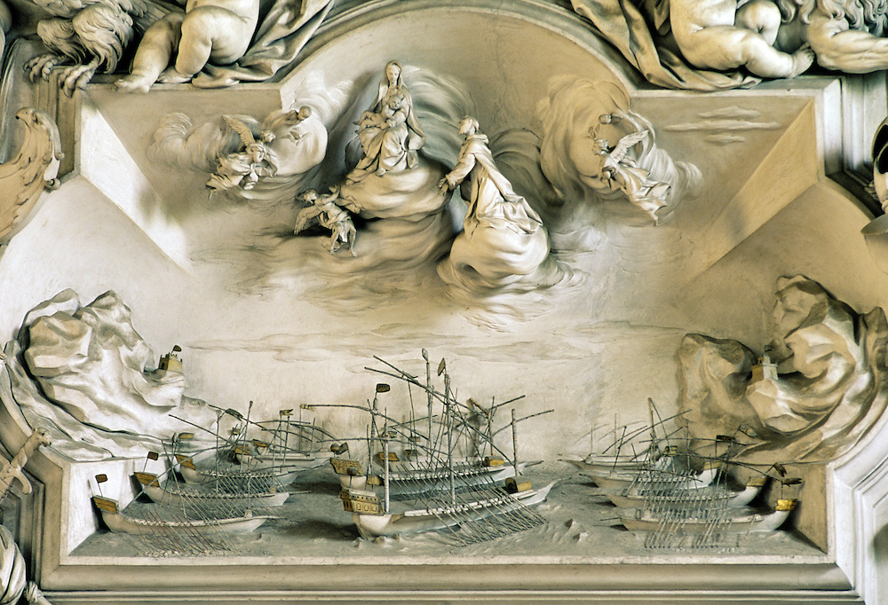 Detail in the Oratorio del Rosario di Santa Zita, Palermo, Sicily, Italy. Stucco of Battle of Lepanto by Giacomo Serpotta