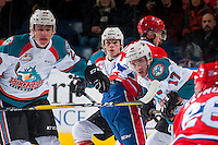KELOWNA, CANADA - JANUARY 4: Nolan Foote #29, Lucas Johansen #7 and Rodney Southam #17 of the Kelowna Rockets skate against the Spokane Chiefs on January 4, 2017 at Prospera Place in Kelowna, British Columbia, Canada.  (Photo by Marissa Baecker/Shoot the Breeze)  *** Local Caption ***