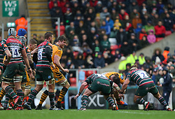 Kieran Brookes of Wasps cant find a way through the Leicester Tigers defence - Mandatory by-line: Arron Gent/JMP - 15/02/2020 - RUGBY - Welford Road Stadium - Leicester, England - Leicester Tigers v Wasps - Gallagher Premiership Rugby