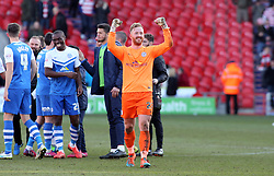 Peterborough United's Ben Alnwick celebrates the win at full-time - Photo mandatory by-line: Joe Dent/JMP - Mobile: 07966 386802 - 14/03/2015 - SPORT - Football - Doncaster - Keepmoat Stadium - Doncaster Rovers v Peterborough United - Sky Bet League One