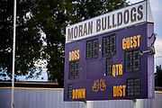 The scoreboard at the Moran High School football field in Moran, Texas on October 18, 2017. (Cooper Neill for The New York Times)