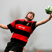 Damien Forde wins the line out during the Ennis V Fermoy match at Ennis Rugby Grounds on Saturday.<br /><br />Photograph by Eamon Ward