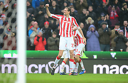 Peter Crouch of Stoke City celebrates Joe Allen of Stoke City goal. - Mandatory by-line: Alex James/JMP - 11/02/2017 - FOOTBALL - Bet365 Stadium - Stoke-on-Trent, England - Stoke City v Crystal Palace - Premier League