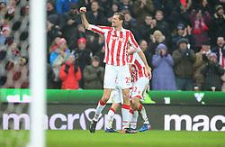 Peter Crouch of Stoke City celebrates Joe Allen of Stoke City goal. - Mandatory by-line: Alex James/JMP - 11/02/2017 - FOOTBALL - Bet365 Stadium - Stoke-on-Trent, England - Stoke City v Crystal Palace - Premier League