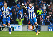 Brighton striker Tomer Hemed celebrates his goal during the Sky Bet Championship match between Brighton and Hove Albion and Bolton Wanderers at the American Express Community Stadium, Brighton and Hove, England on 13 February 2016. Photo by Bennett Dean.