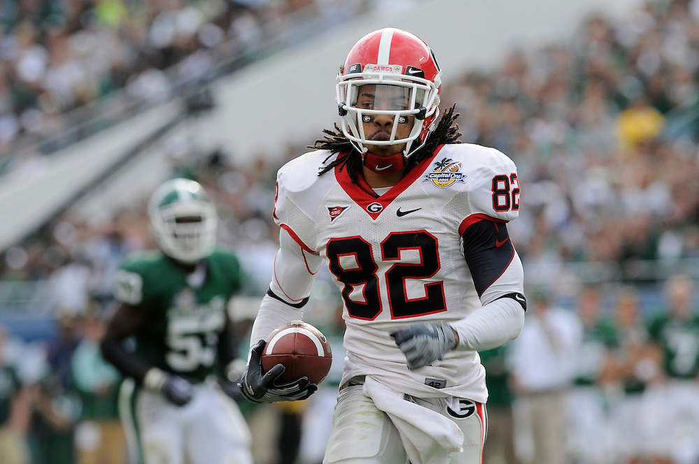 January 1, 2009:Michael Moore of the Georgia Bulldogs in action during the NCAA football game between the Michigan State Spartans and the Georgia Bulldogs in the Capital One Bowl. The Bulldogs defeated the Spartans 24-12.
