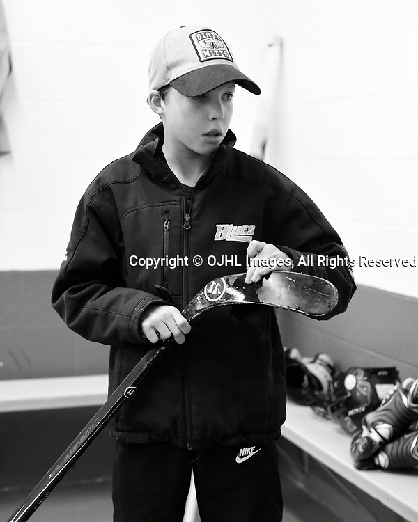 TRENTON, ON - APR 15,  2017: Ontario Junior Hockey League, Championship Series. Georgetown Raiders vs the Trenton Golden Hawks in Game 2 of the Buckland Cup Final.  A future Trenton Golden Hawk before the pregame warm-up. <br /> (Photo by Andy Corneau / OJHL Images)