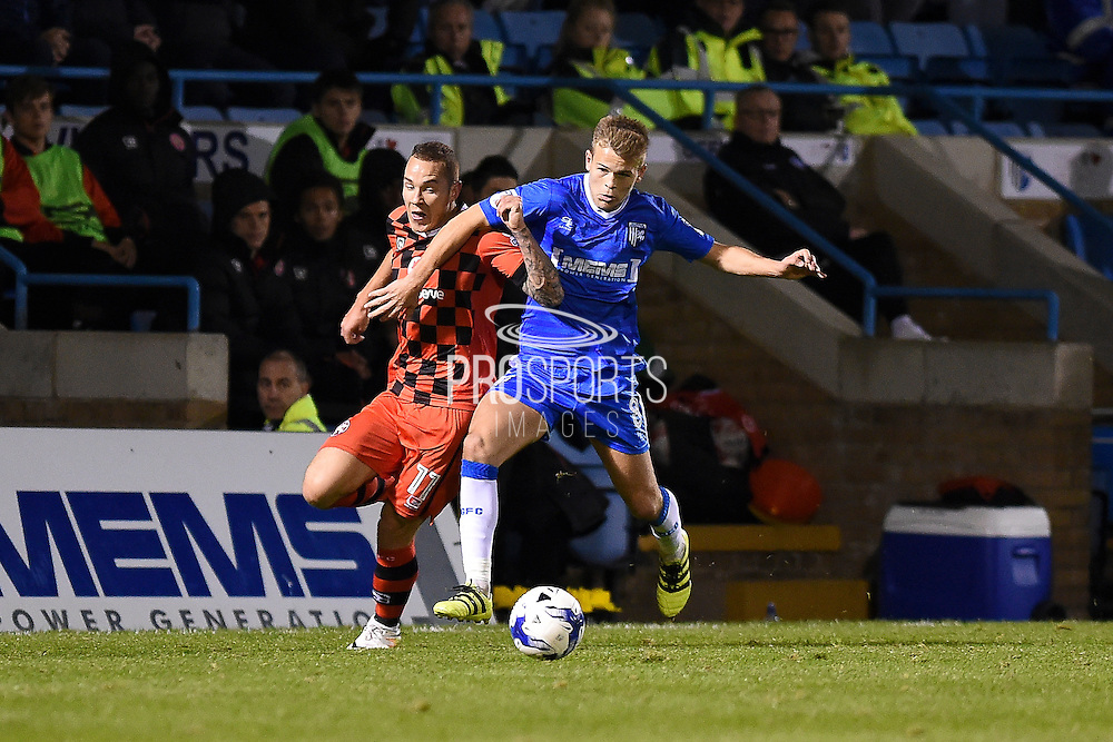 Walsall midfielder Florent Cuvelier (8) and Gillingham midfielder Billy Knott (11)  during the EFL Sky Bet League 1 match between Gillingham and Walsall at the MEMS Priestfield Stadium, Gillingham, England on 18 October 2016. Photo by Martin Cole.