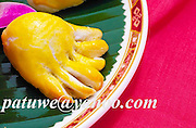 Dimsum, Sweet lotus paste cake in buddha hand shape. china