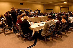 16 December, 05. New Orleans, Louisiana. <br /> New Orleans Mayor Ray Nagin at a 'town hall meeting' listens and responds to residents at the Sheraton Hotel.<br /> Photo; ©Charlie Varley/varleypix.com