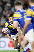 Leeds Rhinos full back Ashton Golding (1) passes the ball during the Betfred Super League match between Hull FC and Leeds Rhinos at Kingston Communications Stadium, Hull, United Kingdom on 19 April 2018. Picture by Mick Atkins.