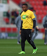 Cyriac of Fulham wears a Kick It Out t-shirt whilst warming up prior the Sky Bet Championship match at the New York Stadium, Rotherham<br /> Picture by James Wilson/Focus Images Ltd 07709 548263<br /> 01/04/2017