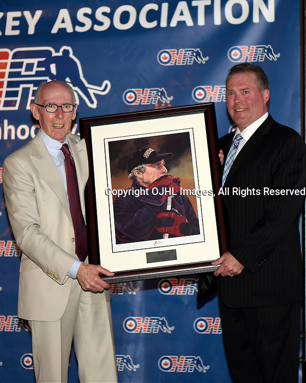 TORONTO, CANADA - June 6: The 2014 Ontario Hockey Association Awards at the Hockey Hall of Fame in Toronto, Ontario, Canada. OHA Director Bill Markle presents OHA Coach of the Year &ndash; James Richmond, Aurora Tigers (Ontario Junior Hockey League)&nbsp;.<br /> (Photo by Andy Corneau / OJHL Images)