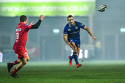 Leinster's Dave Kearney kicks ahead<br /> <br /> Photographer Craig Thomas/Replay Images<br /> <br /> Guinness PRO14 Round 17 - Scarlets v Leinster - Friday 9th March 2018 - Parc Y Scarlets - Llanelli<br /> <br /> World Copyright © Replay Images . All rights reserved. info@replayimages.co.uk - http://replayimages.co.uk