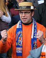Picture by David Horn/Focus Images Ltd +44 7545 970036.16/02/2013.A Luton Town fan wills on his side against Millwall in the The FA Cup match at Kenilworth Road, Luton.