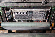 Printing press detail at the Rixing Type Foundry