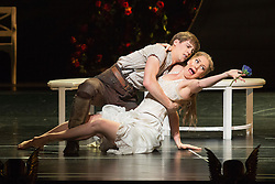 """© Licensed to London News Pictures. 04/12/2015. London, UK. Ashley Shaw as Aurora and Dominic North as Leo. Matthew Bourne's """"Sleeping Beauty"""", a Gothic Romance, is performed at Sadler's Wells from 1 Dec 2015 - 24 Jan 2016. Photo credit: Bettina Strenske/LNP"""