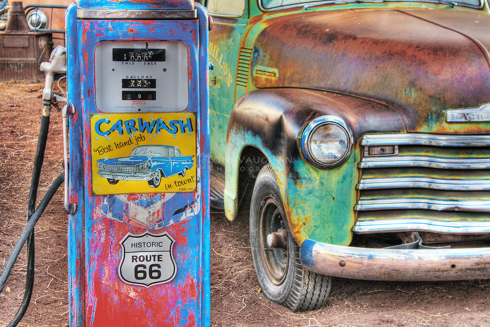 Vintage truck and gas pump on Route 66 in Seligman, Arizona.