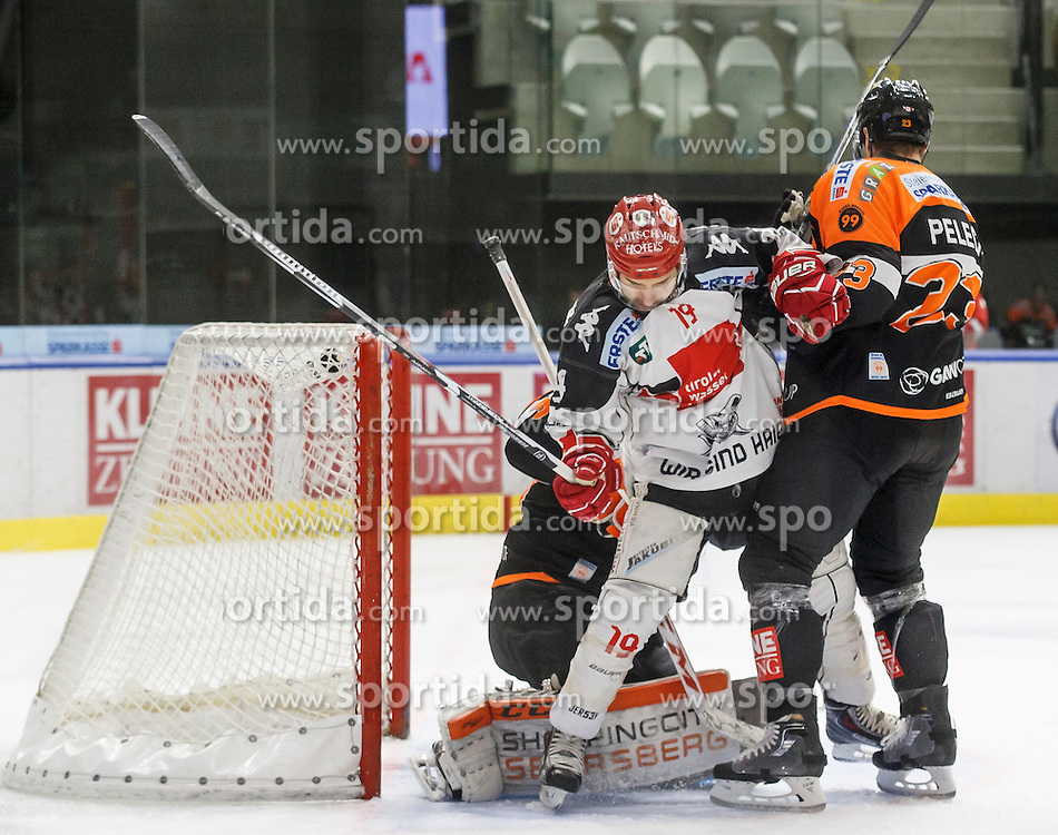 02.12.2016, Merkur Eisarena, Graz, AUT, EBEL, Moser Medical Graz 99ers vs HC TWK Innsbruck Die Haie, 25. Runde, im Bild Tyler Spurgeon (#19, HC TWK Innsbruck), Matt Pelech (#23, Moser Medical Graz 99ers) und Sebastian Dahm (#31, Moser Medical Graz 99ers) // during the Erste Bank Icehockey League 25th Round match between Moser Medical Graz 99ers and HC TWK Innsbruck at the Merkur Ice Arena, Graz, Austria on 2016/12/02, EXPA Pictures © 2016, PhotoCredit: EXPA/ Erwin Scheriau