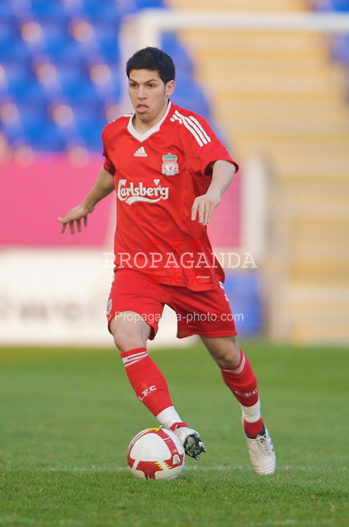 WARRINGTON, ENGLAND - Thursday, April 2, 2009: Liverpool's Daniel Pacheco in action against Sunderland during the FA Premiership Reserves League (Northern Division) match at the Halliwell Jones Stadium. (Photo by: David Rawcliffe/Propaganda)