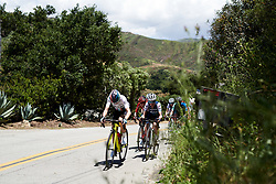 The bunch approach the top of the GPM at Amgen Tour of California Women's Race empowered with SRAM 2019 - Stage 1, a 96.5 km road race in Ventura, United States on May 16, 2019. Photo by Sean Robinson/velofocus.com