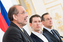 "11.04.2019, Bundeskanzleramt, Wien, AUT, Bundesregierung, Pressekonferenz zum Thema ""Ausbau der schulischen Tagesbetreuung"", im Bild Bildungsminister Heinz Faßmann (ÖVP), Bundeskanzler Sebastian Kurz (ÖVP) und Vizekanzler Heinz-Christian Strache (FPÖ) // Austrian Federal Minister for Education Heinz Fassmann, Austrian Federal Chancellor Sebastian Kurz and Austrian Vice Chancellor Heinz-Christian Strache during media conference at federal chancellors office in Vienna, Austria on 2019/04/11 EXPA Pictures © 2019, PhotoCredit: EXPA/ Michael Gruber"