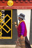 Tibetan pilgrims circumambulating Barkhor Square and The Barkhor, Lhasa, Tibet (Xizang), China.