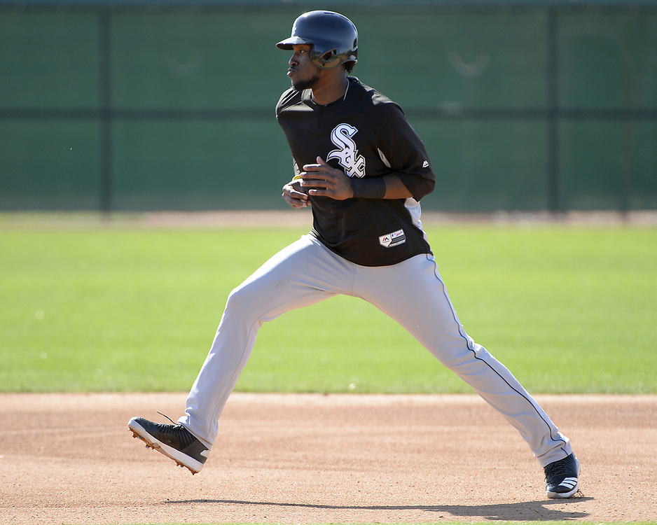 GLENDALE, ARIZONA - FEBRUARY 20:  Luis Basabe of the Chicago White Sox runs the bases during a spring training workout February 20, 2018 at Camelback Ranch in Glendale Arizona.  (Photo by Ron Vesely)  Subject:   Luis Basabe