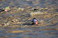 Competitors On The Swim Course. 2012 Ironman Shepparton 70.3 Triathlon. Shepparton, Victoria, Australia. 18/11/2012. Photo By Lucas Wroe