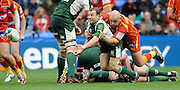 Reading, GREAT BRITAIN, Exiles, Paul HODGESON tackled at the backof the  ruck, during the Heineken, Quarter Final, Cup rugby match,  London Irish vs Perpignan, at the Madejski Stadium on Sat 05.04.2008 [Photo, Peter Spurrier/Intersport-images]